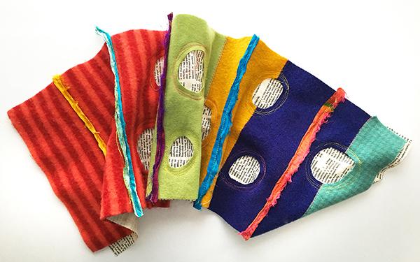 Sari ribbon sewn to the bag