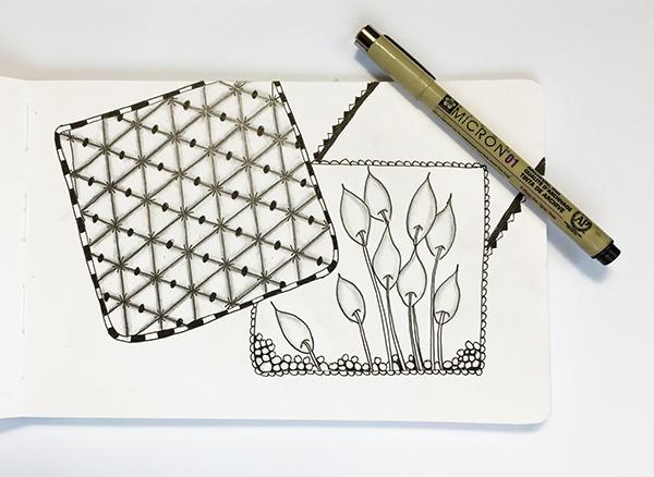 Doodle sketchbook inspiration for a tangle-inspired Valentine