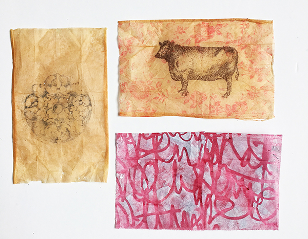 Tea bag art with image transfers, stamping, and stenciling