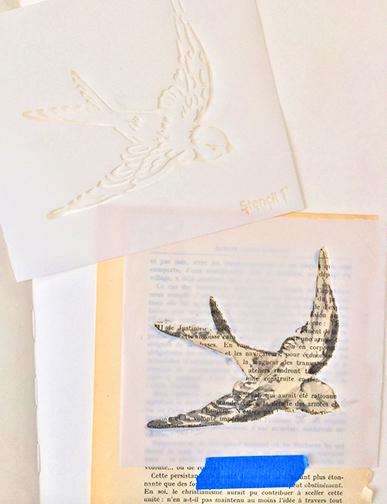 Stenciling a book page