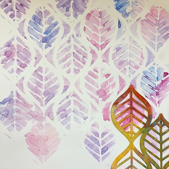Stenciling with wax pastel art supplies