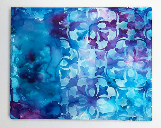 Heavy gel medium applied through a stencil