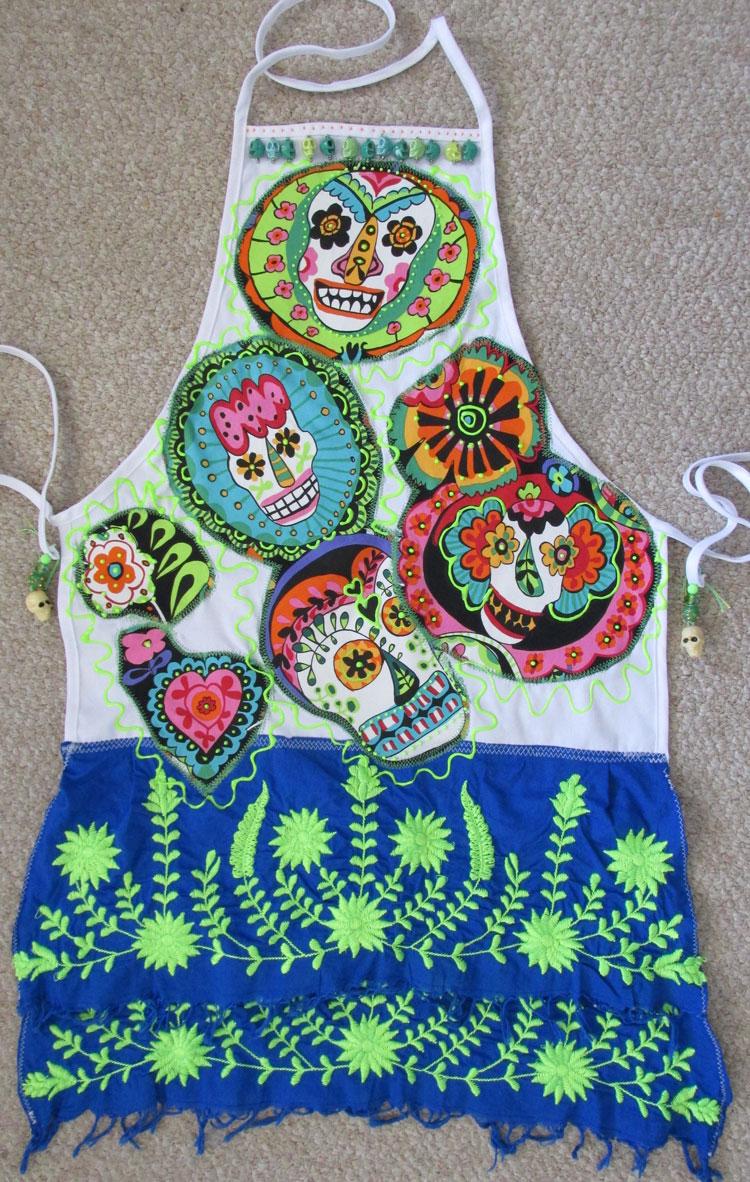 Sugar skulls apron   ClothPaperScissors.com