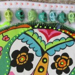 Sugar skulls apron (detail) | ClothPaperScissors.com