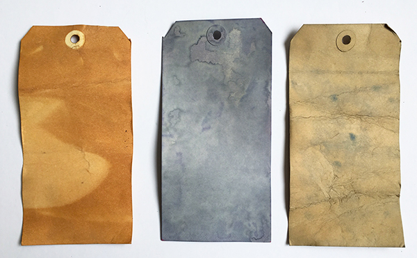Tea-stained tags for tea bag art