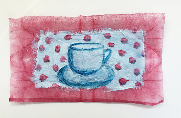 Tea bag art with acrylic paint and watercolor pencil