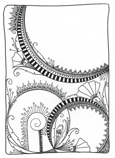 Doodle art coloring page by June Crawford | ClothPaperScissors.com