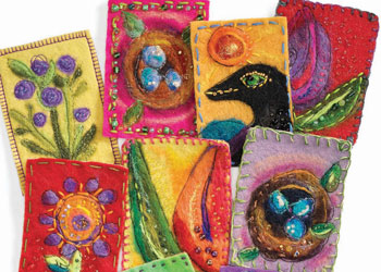Fiber Effects: Colorful needle-felted artist trading cards by Kelli Perkins
