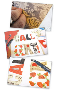 Learn how to use words, fabric, paint, paper and more to create your own collage designs.