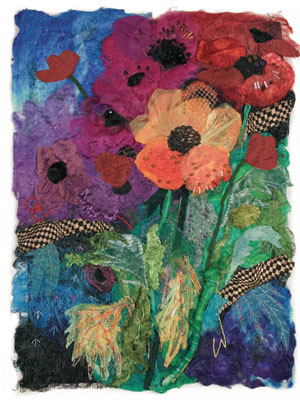 Combine fiber and fabric to create contemporary fiber art pieces like this one.
