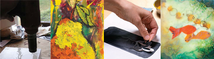 Discover a variety of encaustic painting techniques to make art like these.
