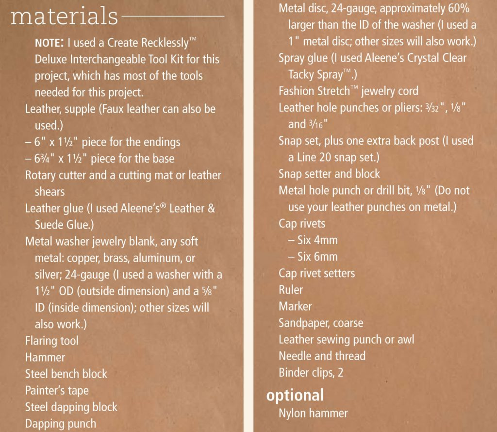 Materials List for Make Waves with Leather and Metal