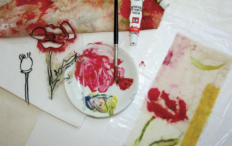 Mixed-media art by Cas Holmes | ClothPaperScissors.com