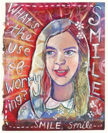 Mixed-media art by Jessica Herman Goodson   ClothPaperScissors.com
