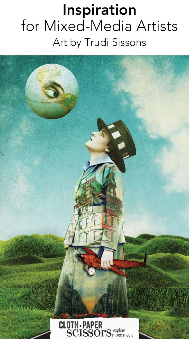Mixed media art by Trudi Sissons   ClothPaperScissors.com