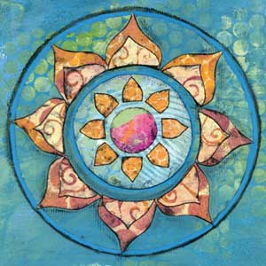 Mixed-media collage mandalas | Kathryn Costa, ClothPaperScissors.com