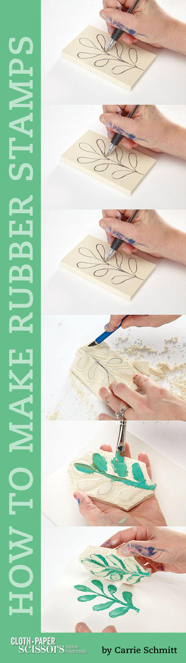 Stamping techniques | Carrie Schmitt, ClothPaperScissors.com