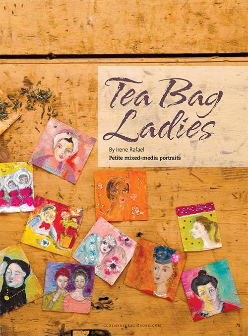 Tea bag art   Irene Rafael, ClothPaperScissors.com