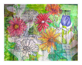 A Rose is a Rose Prayer Card Printed with Original Mixed-Media Collage Art