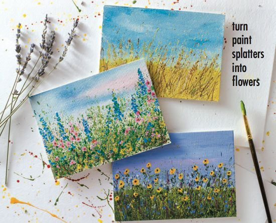 Let Your Paint Splatters Bloom Into Flower Gardens A Step By Step Mixed Media Tutorial Cloth Paper Scissors