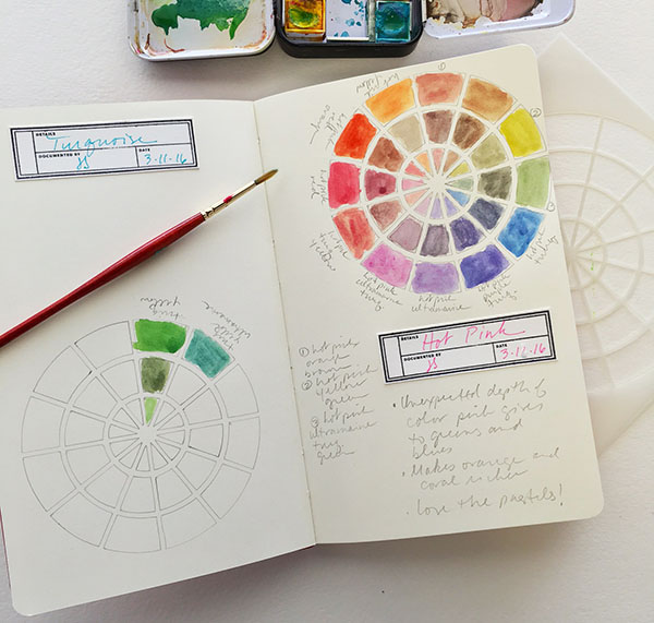 Using a color wheel in a color journal