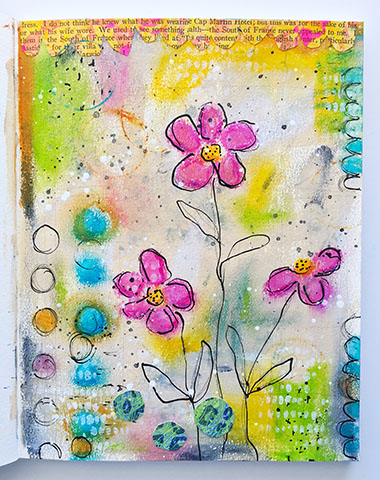 art journal page with artist crayons