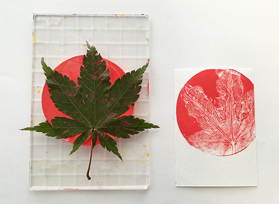 Gelli plate printing with leaves