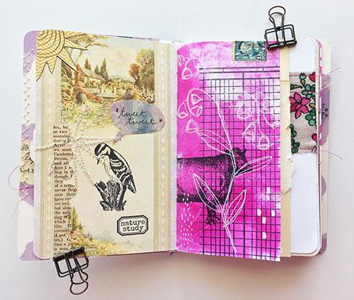 This mini book is also a mini art journal.