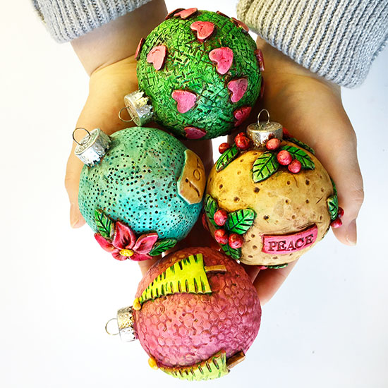Painted polymer clay ornaments