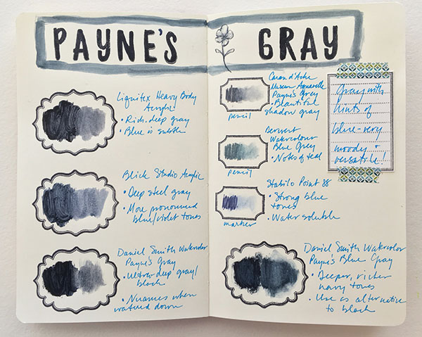 Payne's Gray color mediums in a color journal