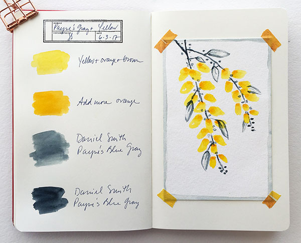 Payne's Gray color experiment in a color journal