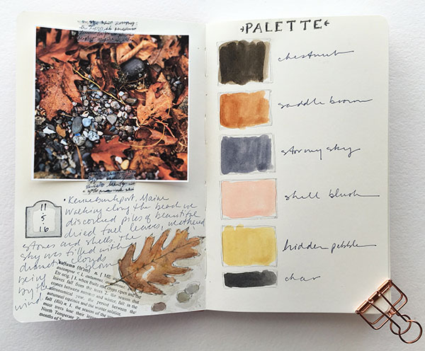 Color inspiration palette in a color journal