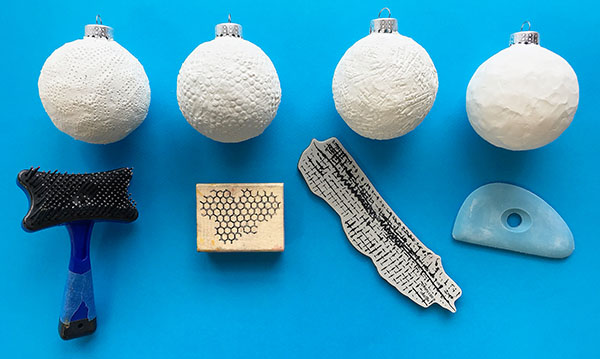 Texture effects on polymer clay ornaments