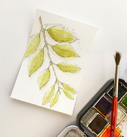 Watercolor leaf sketch for nature art book