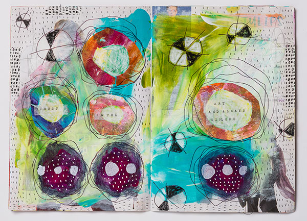 A few words on an art journal page can add a powerful element to artwork. (Photo by Sharon White Photography.)