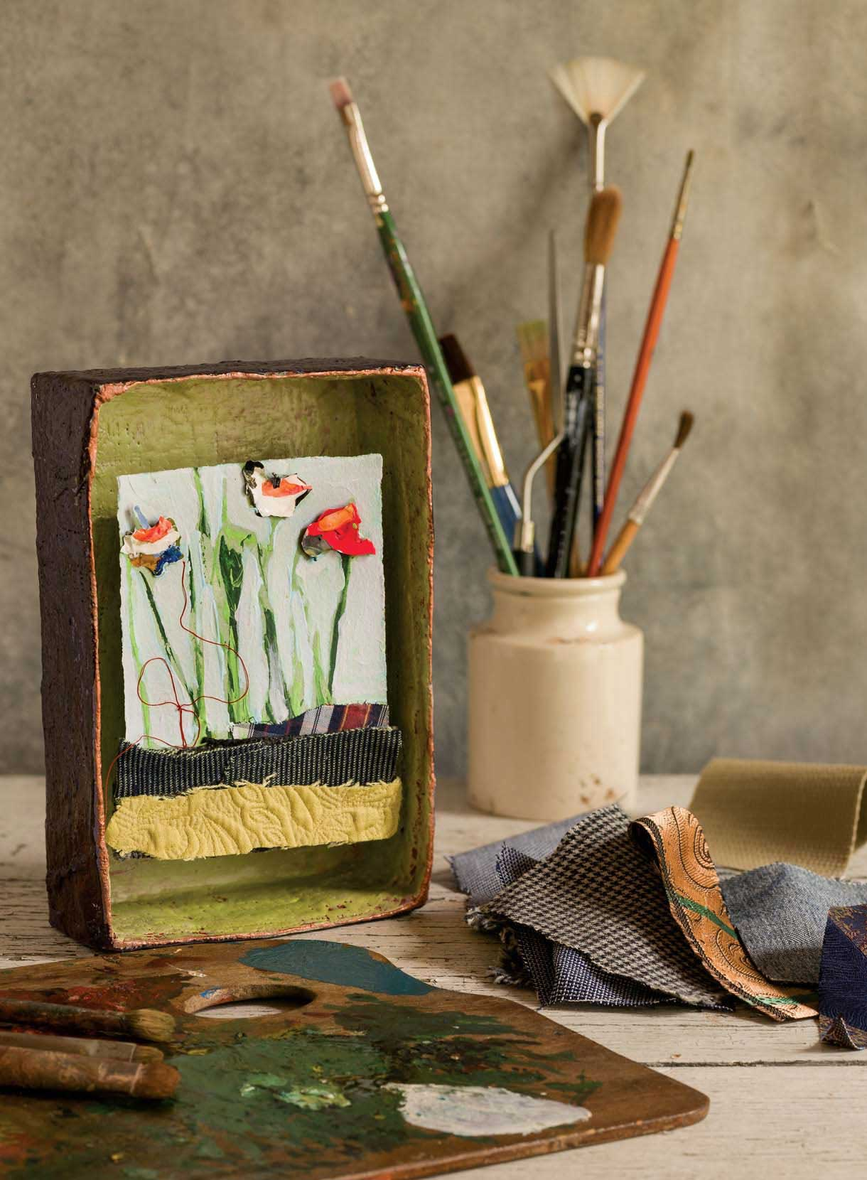 Staci Swider turns leftover paint skins into abstract flowers (Photos by Sharon White Photography)