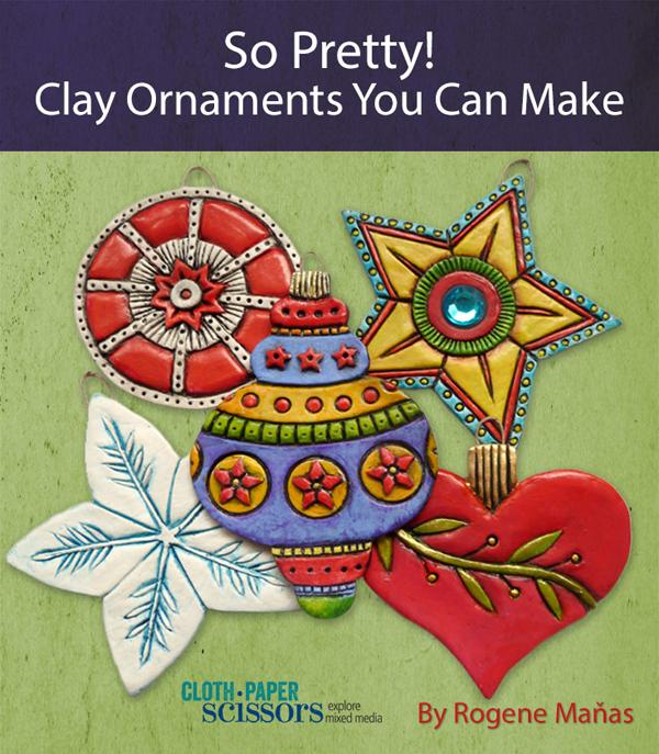 Paper clay ornaments | Rogene Manas, ClothPaperScissors.com